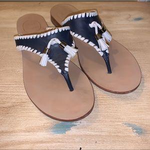 Jack Rogers navy and white tassel sandal EUC 7.5